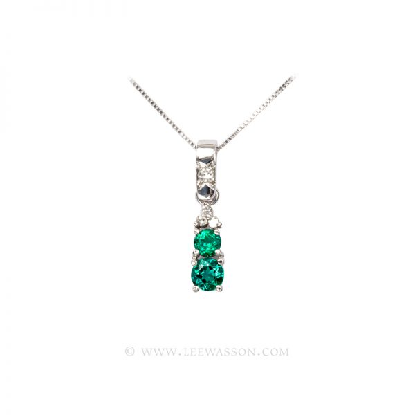 Colombian Emerald Pendant, 2 Brilliant cut Emeralds set in 18k White Gold- Lee Wasson offers Dazzling One of a Kind Colombian Emerald Jewelry.