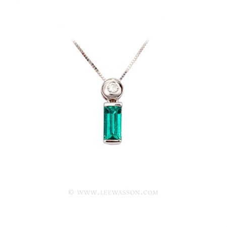 Colombian Emerald Pendant, Emerald cut, Emerald Necklace18k White Gold