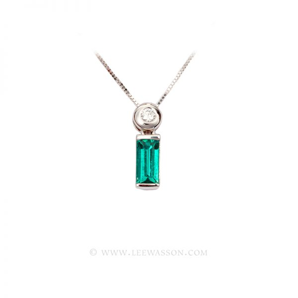 Colombian Emerald Pendant, Emerald cut, Emerald Necklace, 18k White Gold