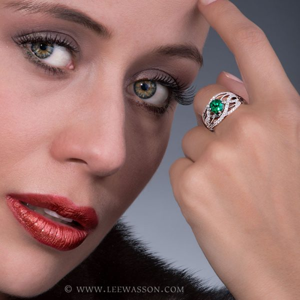 Brilliant Cut Colombian Emerald Ring, Bright Dark Green from Chivor Mine in 18K White Gold & Diamonds. Engagement Ring Vintage Style. leewasson.com - 19616 - 8
