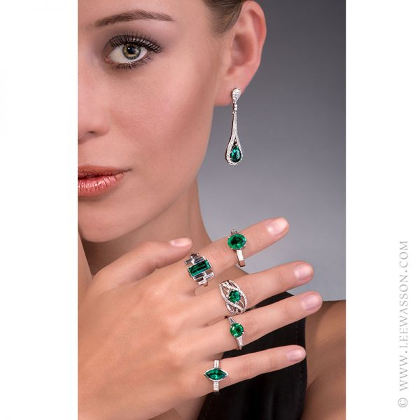 Gorgeous Colombian Emerald Rings with Diamonds set in 18 K White Gold. leewasson.com - 19616 - 11