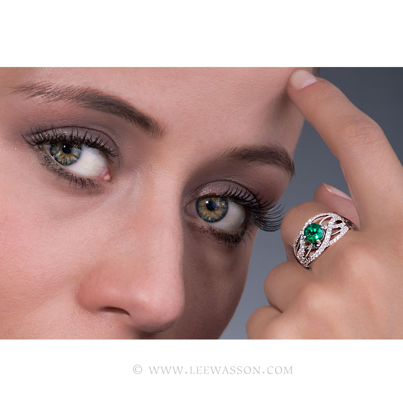 Brilliant Cut Colombian Emerald Ring, Bright Dark Green from Chivor Mine in 18K White Gold & Diamonds. Engagement Ring Vintage Style. leewasson.com - 19616 - 7