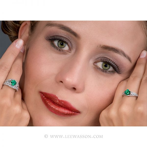 Natural Colombian Emeralds Rings Delicately Handcrafted by Master Jewelers. leewasson.com 19619 - 9