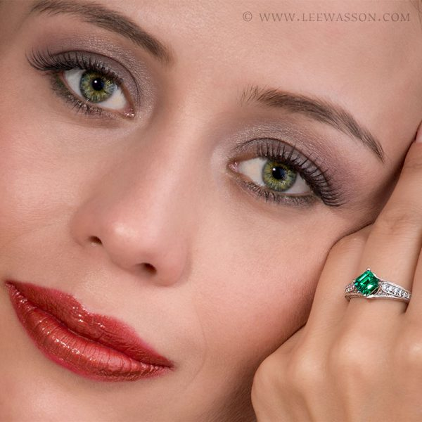 Colombian Emerald Ring, Emerald cut Emeralds Engagement Rings set in 18k White Gold. leewasson.com - 19629 - 5