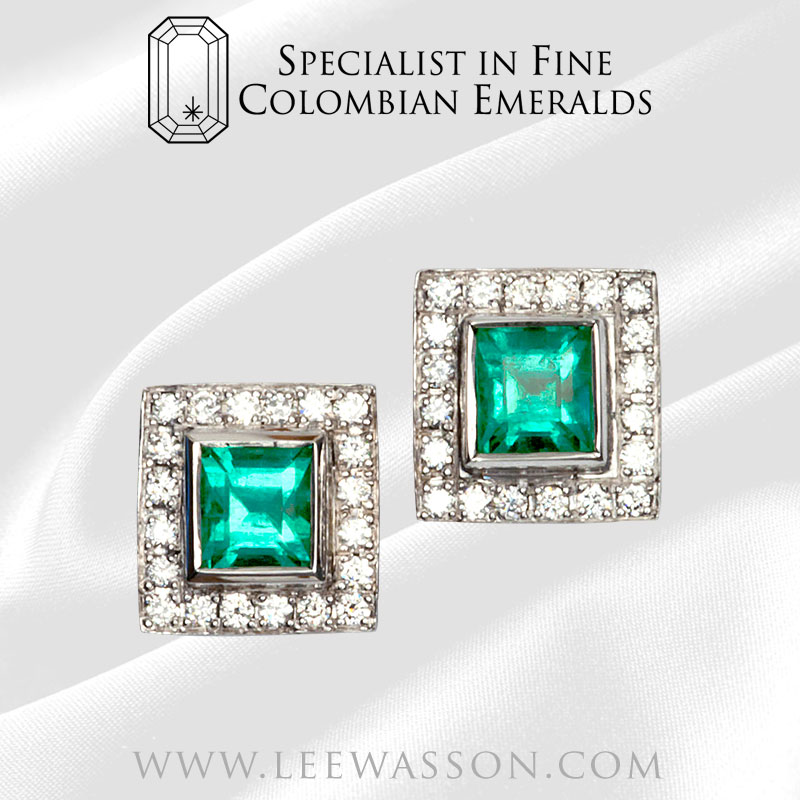 Colombian Emerald Earrings Square 18k White Gold 19560