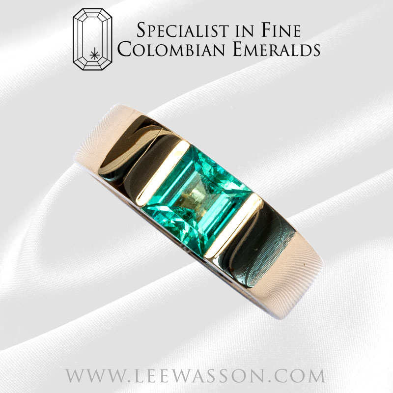 Colombian Emerald Ring Square Emerald Engagement Ring Yellow Gold
