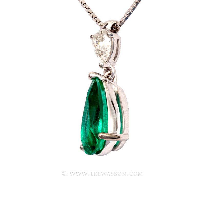Colombian Emerald Pendant, Pear shape Emerald Necklace, 18k White Gold 19671