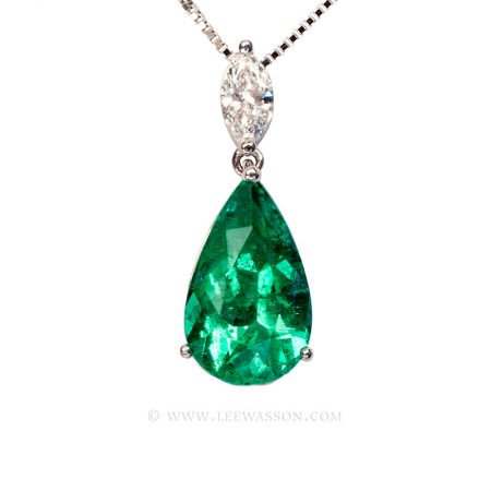 Colombian Emerald Necklace, Pear shape Emerald Pendant, 18k White Gold 19672