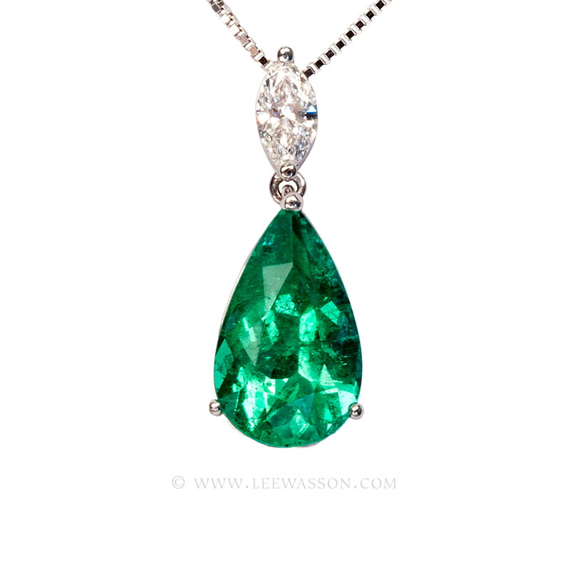 Colombian Emerald Pendant, Pear shape Emerald Necklace, 18k White Gold. leewasson.com - 1 - 19672