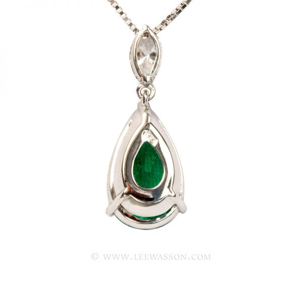 Colombian Emerald Pendant, Pear shape Emerald Necklace set in 18k White Gold 19672