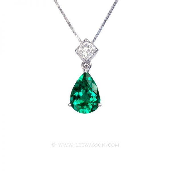 Colombian Emerald Pendant, Pear shape Emerald Necklace, 18k White Gold 19674