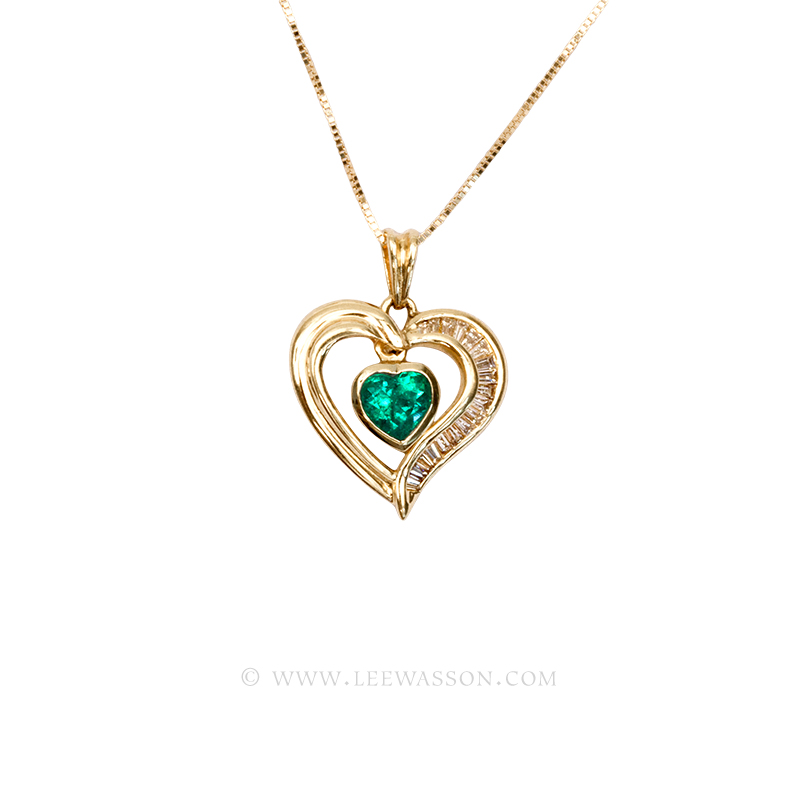 Colombian emerald pendant heart shape emerald necklace 18k gold 19510 18k yellow gold pendants aloadofball Images