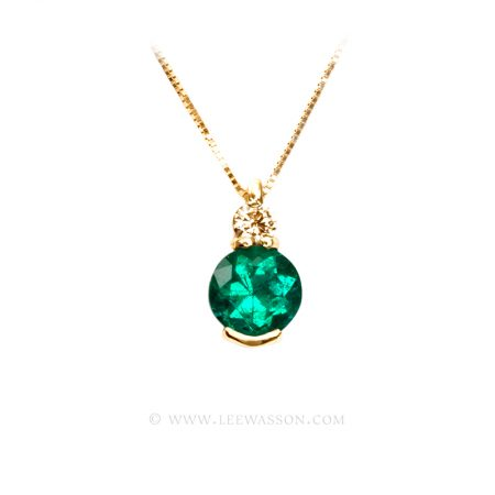 Colombian Emerald Necklace, Pear shape Emerald set in 18k Yellow Gold