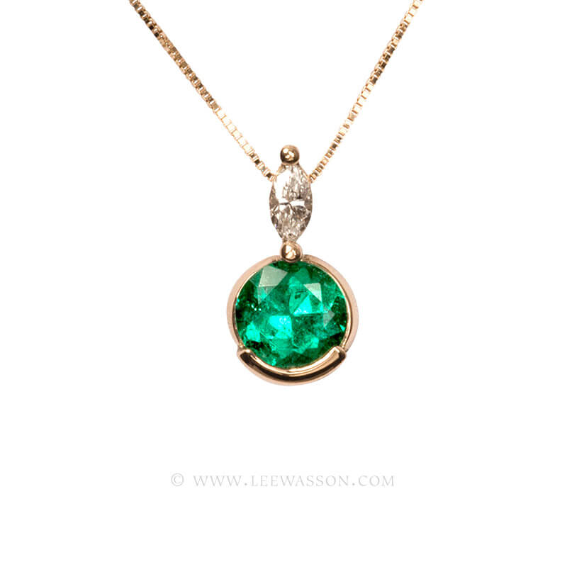 Colombian Emerald Pendant, Emeralds Engagement Pendant, 18k Yellow Gold 19582