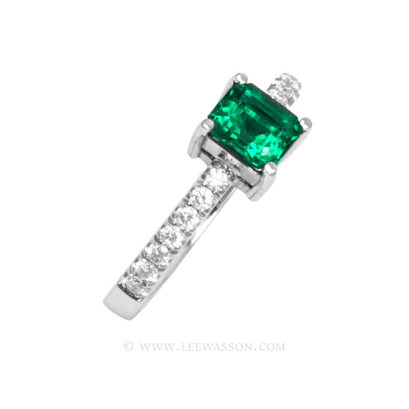 Colombian Emerald Ring, Emeralds Engagement Ring, 18k White Gold 19675