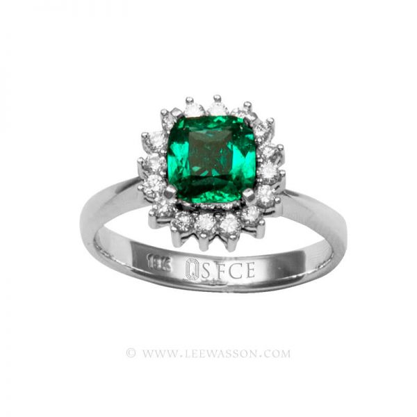 Colombian Emerald Ring, Emeralds Engagement Ring, 18k White Gold 19676
