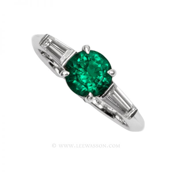 Colombian Emerald Ring, Emeralds Engagement Ring, 18k White Gold 19677