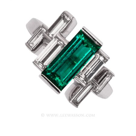 Colombian Emerald Ring, Emeralds Engagement Ring, 18k White Gold 19678
