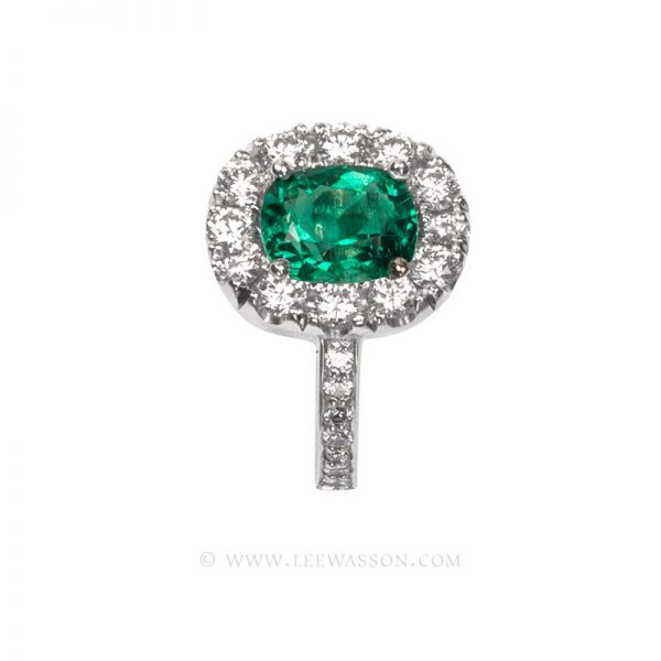 Colombian Emerald Ring, Cushion cut, leewasson.com - 19682 - 4 -