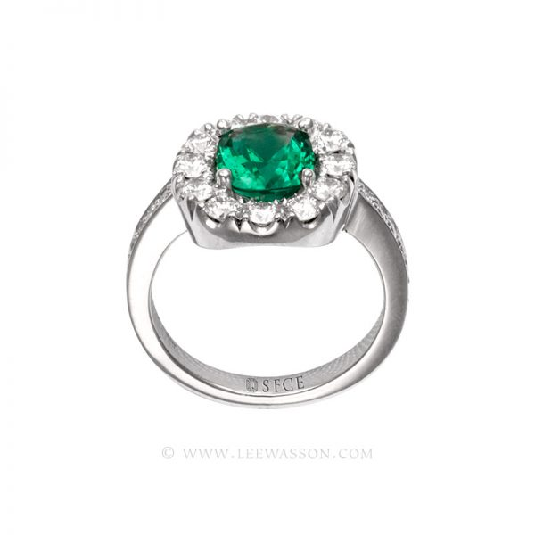 Colombian Emerald Ring, Cushion cut, leewasson.com - 19682 - 3 -