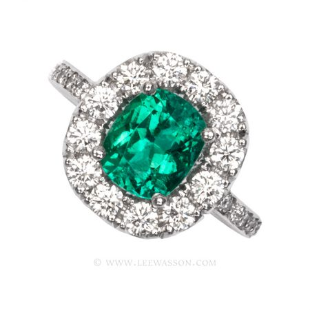 Colombian Emerald Ring, Cushion cut, Emeralds Engagement Ring, 18k White Gold, leewasson.com - 19682 - 1 -