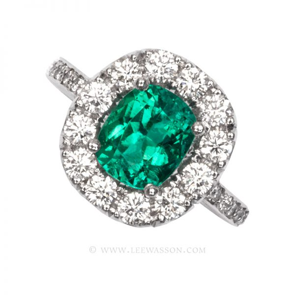 Colombian Emerald Ring, Emeralds Engagement Ring, 18k White Gold 19682