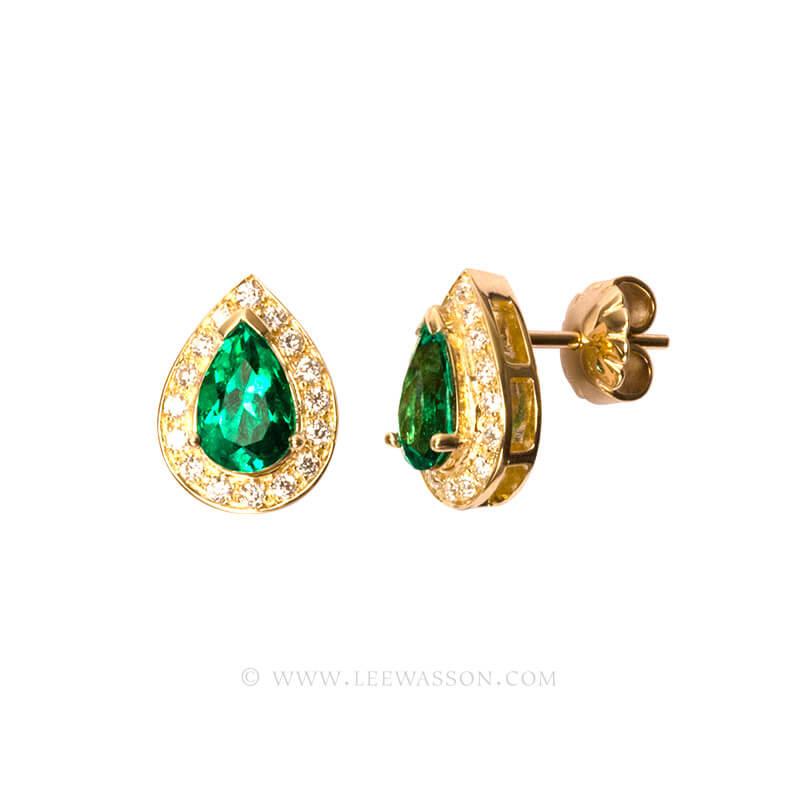 Colombian Emerald Earrings, Emeralds Engagement Earrings, 18k Yellow Gold 19551