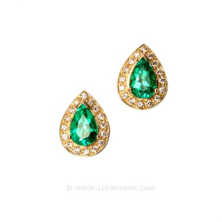 Colombian Emerald Earrings, Emeralds Engagement Earrings, 18k Yellow Gold 19551