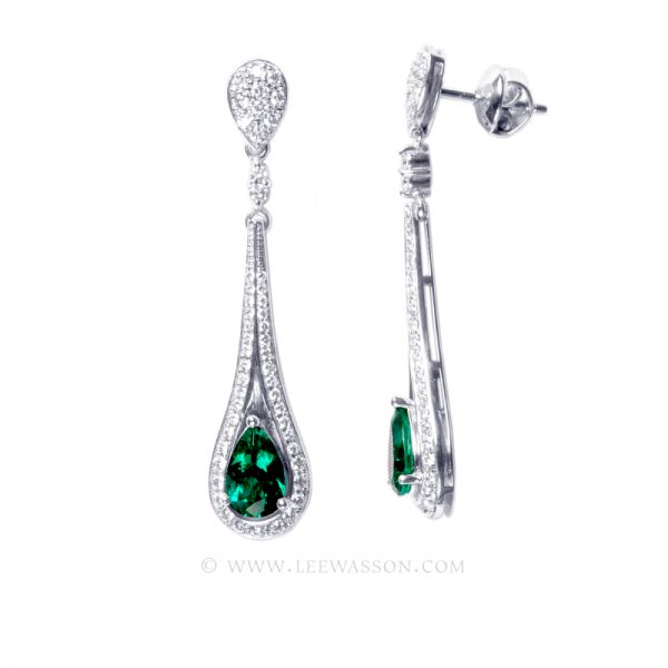 Colombian Emerald Earring, Emeralds Engagement Ring, 18k White Gold