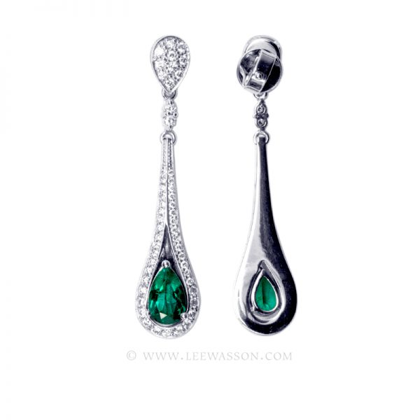 Sumptuous Colombian Emerald Drop Earrings, Emerald Engagement Ring in 18k White Gold