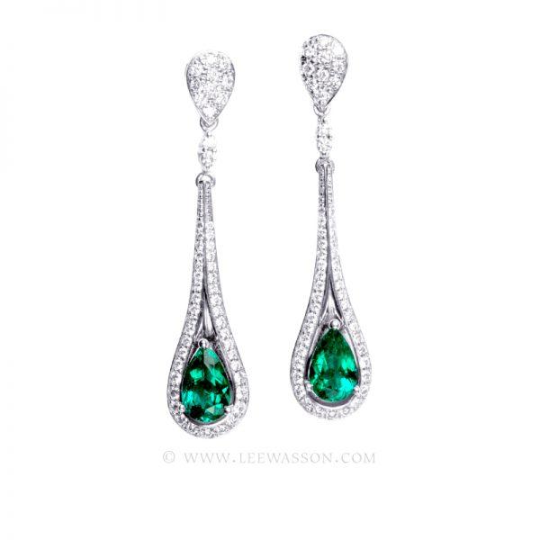 Colombian Emerald Earrings 19681, 18k White Gold