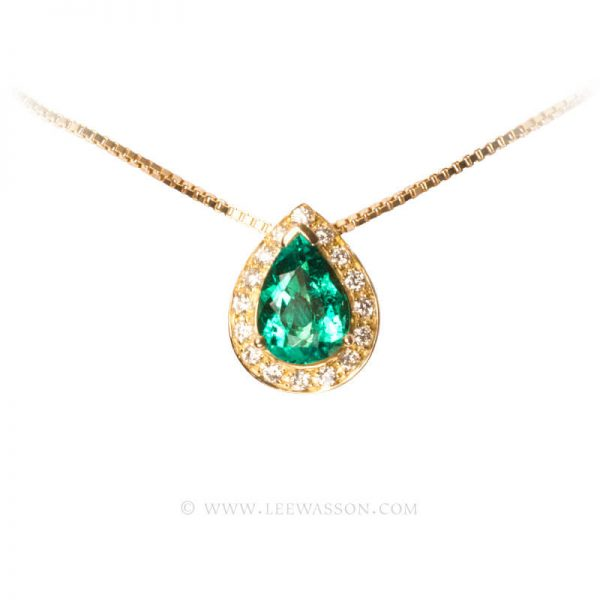 Colombian Emerald Pendant, Emeralds Engagement Pendant, 18k Yellow Gold 19552