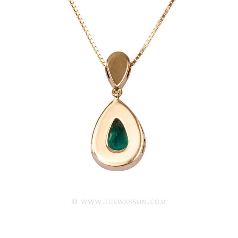 Colombian Emerald Pendant, Emeralds Engagement Pendant, 18k Yellow Gold 19679