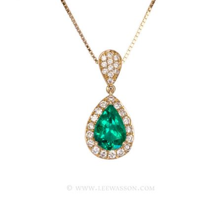 Colombian Emerald Pendant, Emeralds Engagement Pendant, 18k Yellow Gold. leewasson.com - 19679