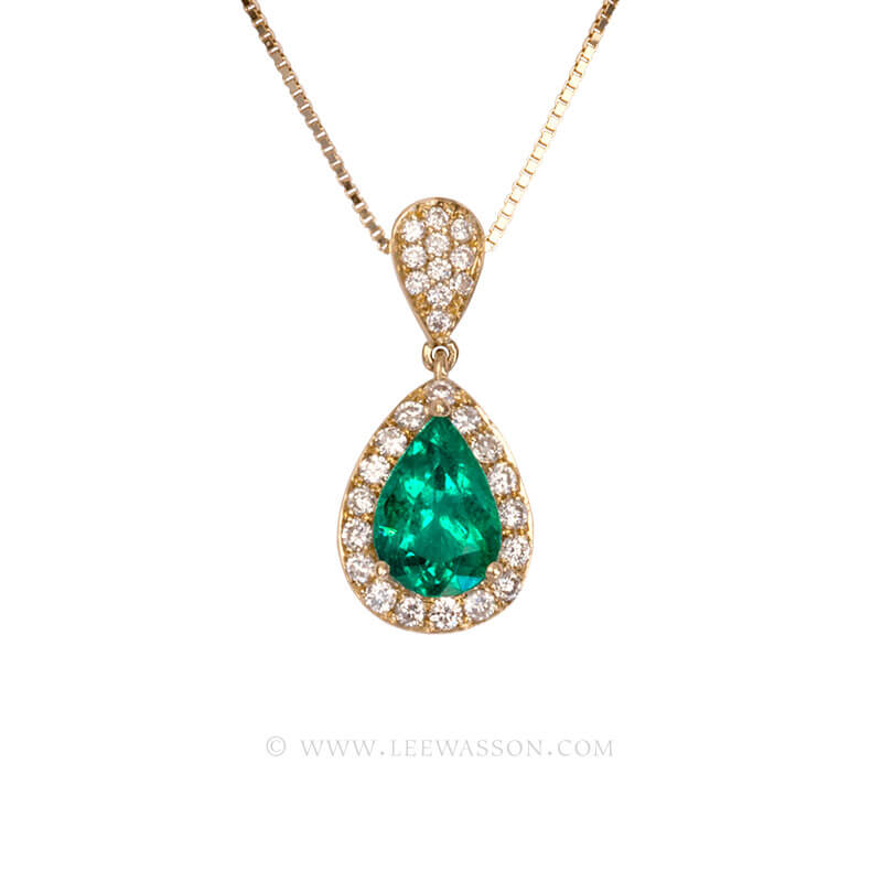 Colombian Emerald Pendant, Emeralds Engagement Pendant, 18k Yellow Gold. leewasson.com - 19679