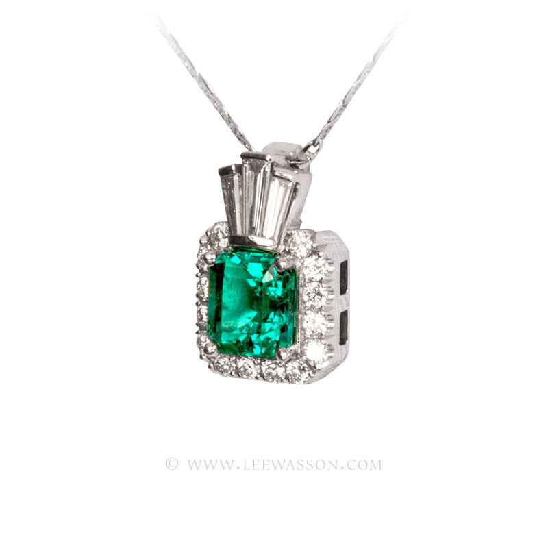 Colombian Emerald Pendant, Emeralds Engagement Pendant, 18k White Gold 19680