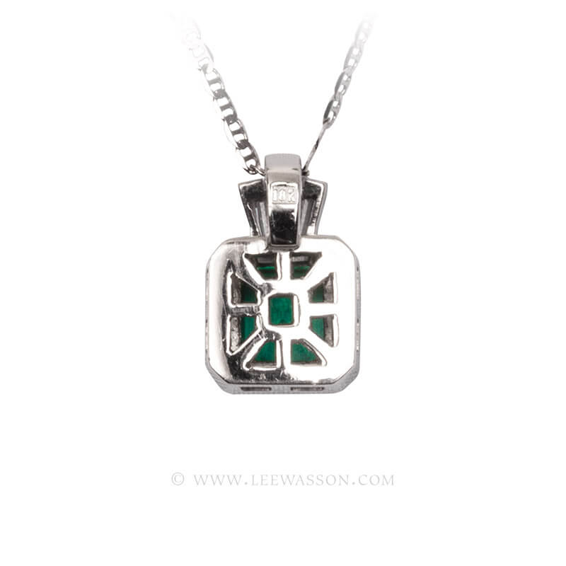 Colombian Emerald Pendant, Emeralds Engagement Pendant, 18k White Gold 19680