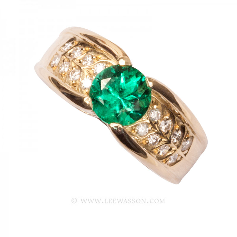 Colombian Emerald Ring, Emeralds Engagement Ring, 18k Yellow Gold 19686