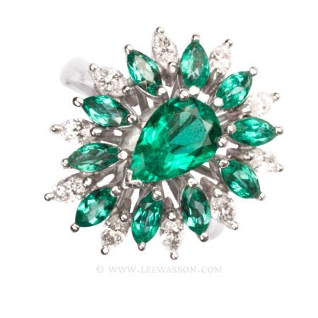 Colombian Emerald Ring, Emeralds Engagement Ring, 18k White Gold 19684