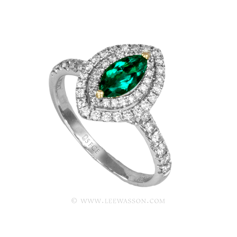 Colombian Emerald Ring, a Stunning Marquise Cut Emerald, Approx. 0.50 Carat. leewasson.com - 19690 - 2