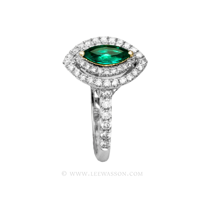 ba21300439985 Colombian Emerald Ring, Marquise Cut Emerald Engagement Rings in 18k