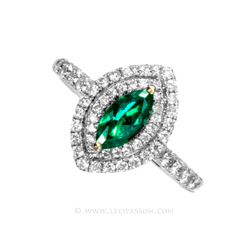 Colombian Emerald Ring, a Stunning Marquise Cut Emerald, Approx. 0.50 Carat. leewasson.com - 19690 - 1