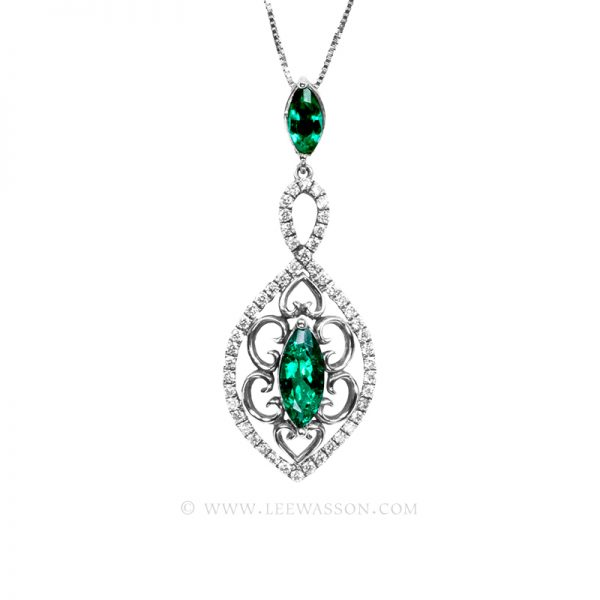 19701-white-gold-Emerald-pendant-leewasson.com