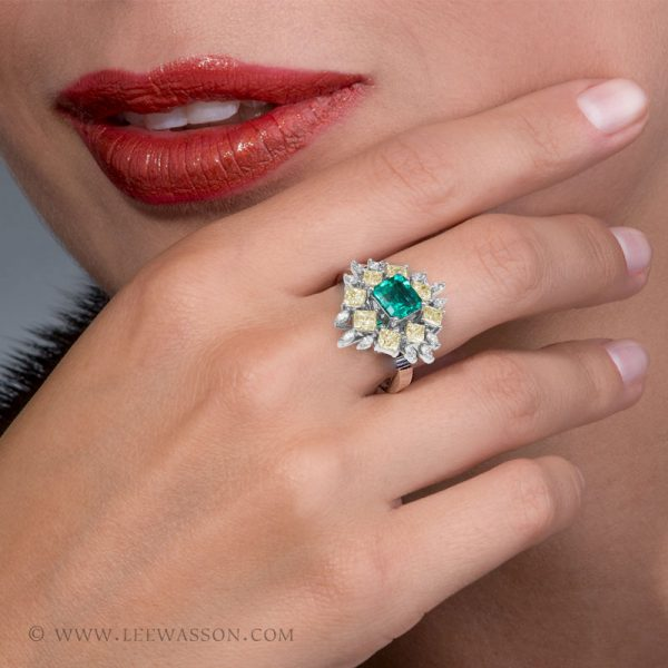 Colombian Emerald Ring, Asscher cut Emerald, Emerald Cut Emerald Ring set in 18K white Gold. This one-of-a-kind Colombian Emerald Cocktail ring sports a 1.60 carat square step cut Emerald. Photo session - leewasson.com - 19703 - 7 -
