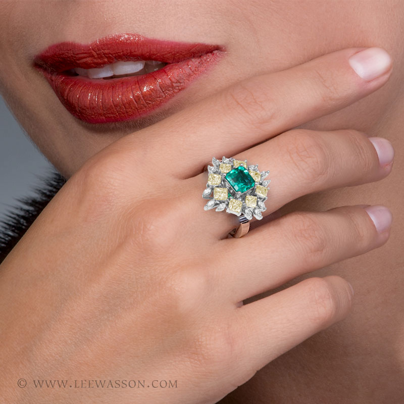 Colombian Emerald Ring, Square Cut Emeralds, Approx. 1.50 Carat Emerald Cut Emerald Ring, leewasson.com - 19703 - 5