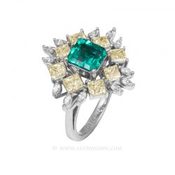 Colombian Emerald Ring, Square Cut Emeralds, Approx. 1.50 Carat Emerald Cut Emerald Ring, leewasson.com - 19703 - 2