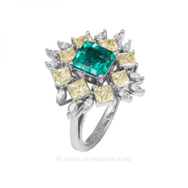 Colombian Emerald Ring, Asscher cut Emerald. leewasson.com - 19703 - 2 -