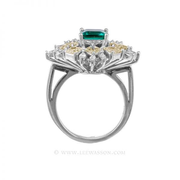 Colombian Emerald Ring, Square Cut Emeralds, Approx. 1.50 Carat Emerald Cut Emerald Ring, leewasson.com - 19703 - 3