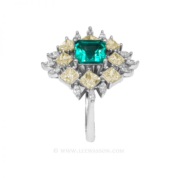 Colombian Emerald Ring, Square Cut Emeralds, Approx. 1.50 Carat Emerald Cut Emerald Ring, leewasson.com - 19703 - 4