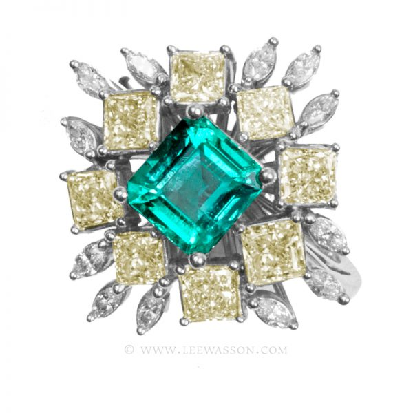 Colombian Emerald Ring, Asscher Cut Emeralds, Approx. 1.50 Carat Emerald Cut Emerald Ring, leewasson.com - 19703 - 1